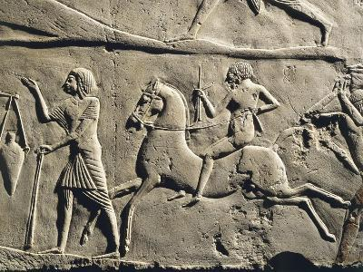 Life in a Military Camp: Horseman Galloping, Relief from the Tomb of Horemheb at Saqqara, Detail--Giclee Print