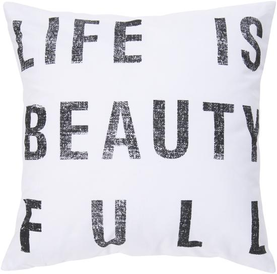 Life Is Beauty Full Down Fill Pillow - White--Home Accessories