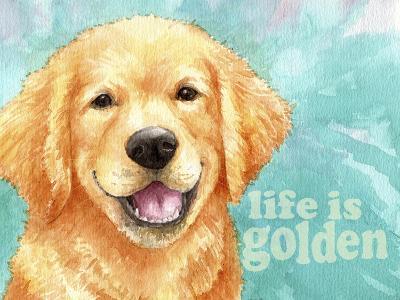 Life Is Golden Retriever-Melinda Hipsher-Giclee Print