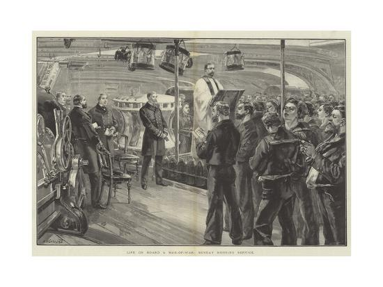 Life on Board a Man-Of-War, Sunday Morning Service-William Heysham Overend-Giclee Print