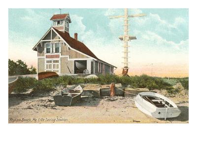 Life Saving Station, Popham Beach, Maine--Art Print