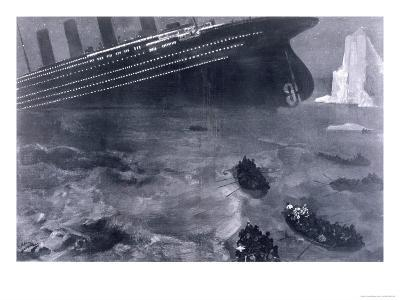 Lifeboats in the Freezing Choppy Waters Frantically Row Away from the Doomed Wreck of the Titanic--Giclee Print