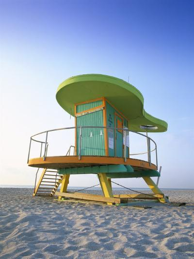 Lifeguard Hut in Art Deco Style, South Beach, Miami Beach, Miami, Florida, USA-Gavin Hellier-Photographic Print