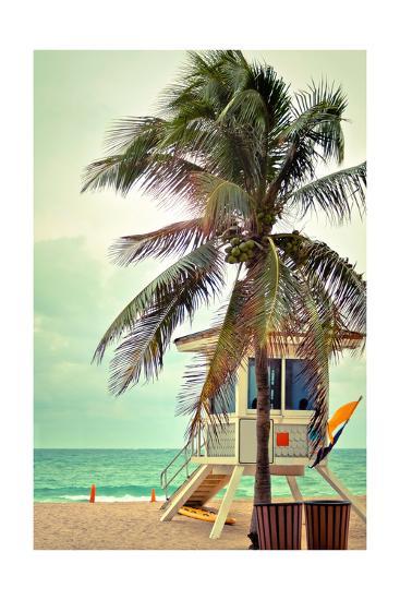 Lifeguard Shack and Palm-Lantern Press-Art Print