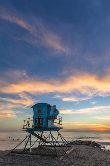 Lifeguard Stand at Sunset in Carlsbad, Ca-Andrew Shoemaker-Photographic Print
