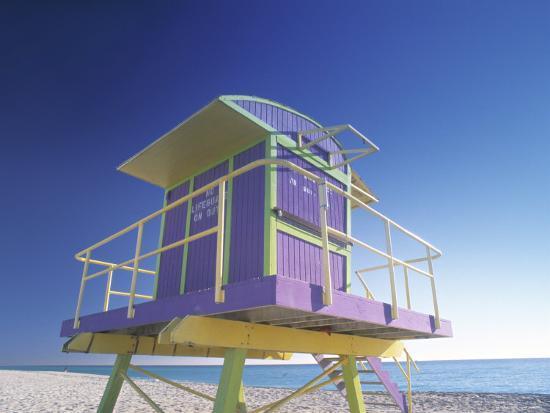 Lifeguard Station at Miami Beach, Miami, USA-Peter Adams-Photographic Print