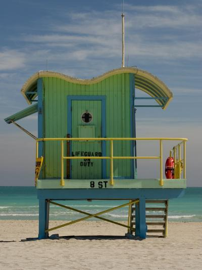Lifeguard Station on 8th Street, South Beach, Miami, Florida, USA-Nancy & Steve Ross-Photographic Print