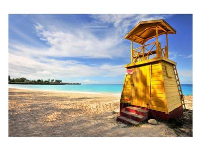 Lifeguard Station on the Beach between Miami Beach and Enterprise Beach in Oistins--Art Print