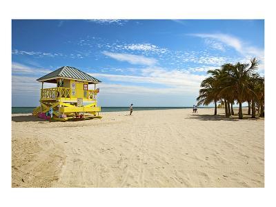 Lifeguard station on the Beach, Crandon Park, Key Biscayne, Florida, USA--Art Print