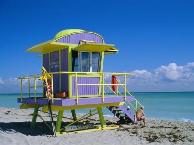 Lifeguard Station, South Beach, Miami Beach, Florida, USA-Amanda Hall-Photographic Print