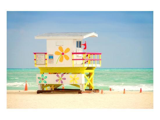 Lifeguard tower in Miami Beach--Art Print