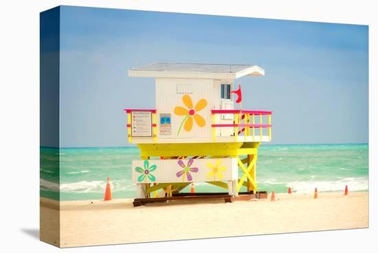 Lifeguard tower in Miami Beach--Stretched Canvas Print