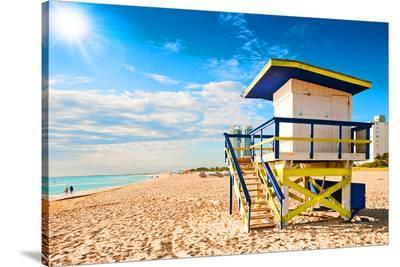 Lifeguard Tower South Beach FL--Stretched Canvas Print