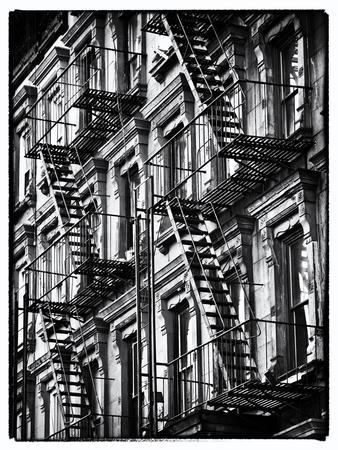Lifestyle Instant, Fire Staircase, Black And White Photography Vintage,  Manhattan, NYC, USBy Philippe Hugonnard