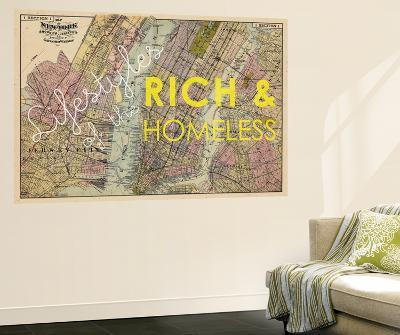 Lifestyles of the Rich & Homeless - 1891, New York, Brooklyn, & Jersey City Map--Wall Mural