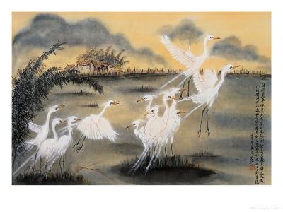 Lifting Egrets-Lu Bisa-Giclee Print