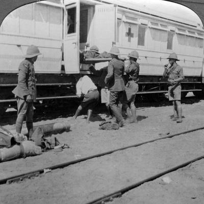 Lifting Wounded Soldiers onto a Hospital Train, East Africa, World War I, 1914-1918--Photographic Print