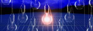Light Bulb Lit Up over a Solar Panel
