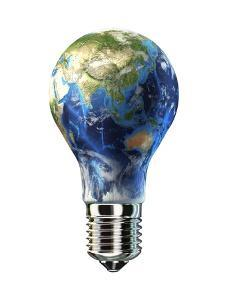Light Bulb with Planet Earth Inside Glass, Asia View