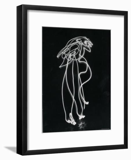 Light Drawing of Figure by Pablo Picasso Using Flashlight-Gjon Mili-Framed Photographic Print