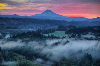 Light Fog at Sunrise from Jonsrud Point, Mount Hood Oregon-Vincent James-Photographic Print