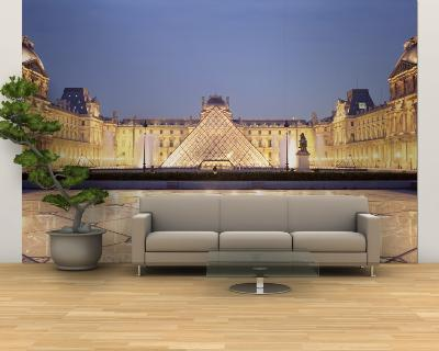 Light Illuminated in the Museum, Louvre Pyramid, Paris, France--Wall Mural – Large