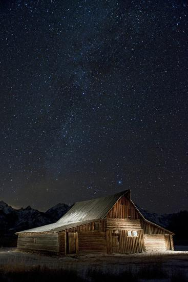 Light Painting of Old Barn on Mormon Row under a Star-Filled Sky-Bob Smith-Photographic Print