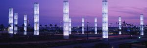 Light Sculptures Lit Up at Night, Lax Airport, Los Angeles, California, USA