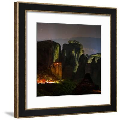 Light Shines on a Monastery Perched on a Sandstone Cliff-Babak Tafreshi-Framed Photographic Print