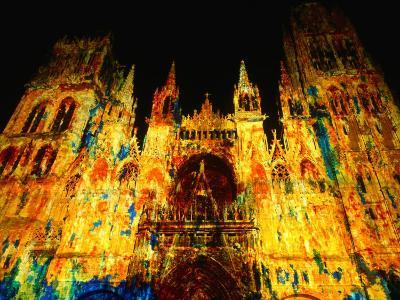 Light Show Projected on Rouen Cathedral, Rouen, France-John Banagan-Photographic Print
