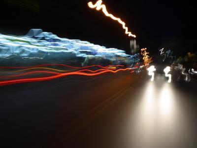 Light Streaks from Car Headlights at Night--Photographic Print