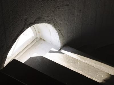 Light Through Window on Concrete Staircase Indoors--Photographic Print