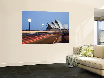 Light Trailing under Harbour Bridge with Sydney Opera House Beyond-Andrew Watson-Wall Mural