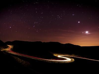 Light Trails And Stars Cape With Venus Jupiter Orion And Moon