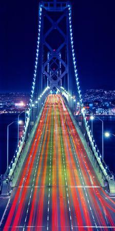 Light trails on Bay Bridge at night, San Francisco, California, USA
