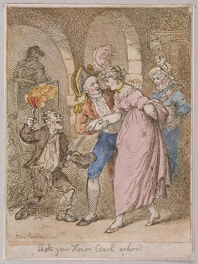 Light Your Honor Coach Unhired, Scene at Covent Garden Piazza,Cries of London, 1811-Thomas Rowlandson-Giclee Print