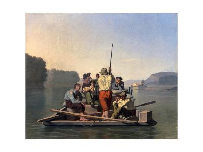 Lighter Relieving a Steamboat Aground-George Caleb Bingham-Giclee Print