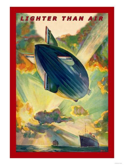 Lighter Than Air: Air Ship Traverses the Ocean--Art Print