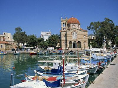 Fishing Boats Moored in Harbour and Domed Church, Aegina Town, Aegina, Saronic Islands, Greece