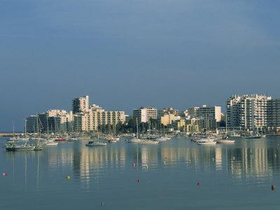 Skyline and Marina, San Antonio Bay, Ibiza, Balearic Islands, Spain, Mediterranean, Europe