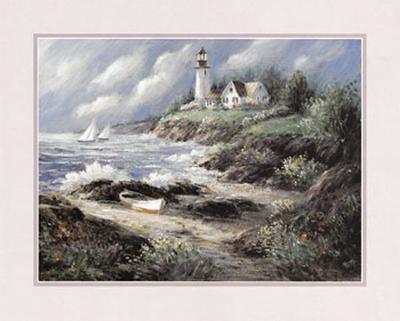 Lighthouse and Boat-George Bjorkland-Art Print