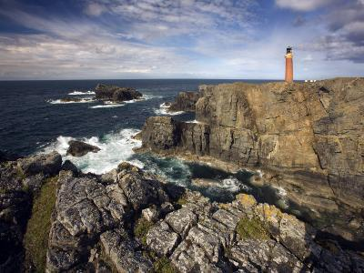 Lighthouse and Cliffs at Butt of Lewis, Isle of Lewis, Outer Hebrides, Scotland, United Kingdom-Lee Frost-Photographic Print