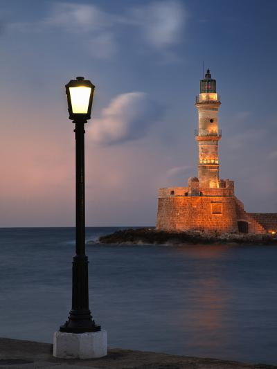 Lighthouse and Lighted Lamp Post at Dusk, Chania, Crete, Greece-Adam Jones-Photographic Print