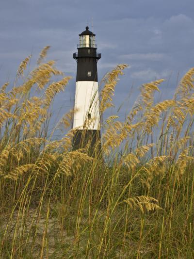 Lighthouse and Seaoats in Early Mooring, Tybee Island, Georgia, USA-Joanne Wells-Photographic Print