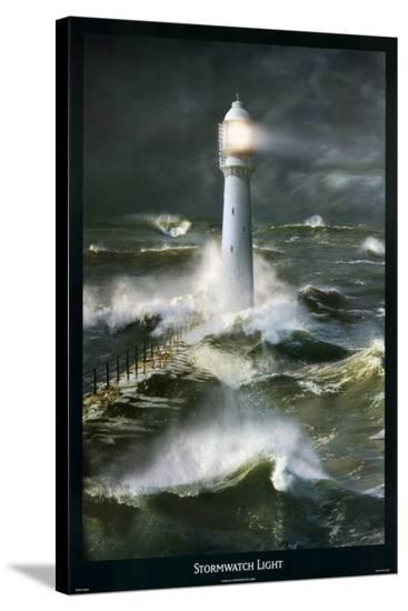 Lighthouse and Stormy Sea-Steve Bloom-Stretched Canvas Print