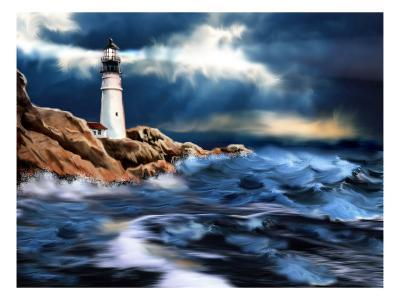 Lighthouse and Stormy Seas--Art Print