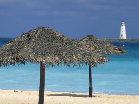 Lighthouse and Thatch Palapa, Nassau, Bahamas, Caribbean-Greg Johnston-Photographic Print