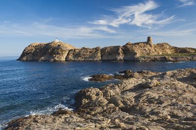 Lighthouse and Tower, Ile De La Pietra, Ile Rousse, Corsica, France-Walter Bibikow-Photographic Print