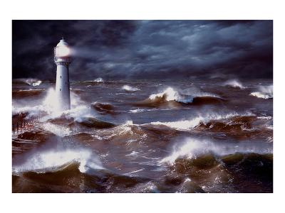 Lighthouse and Waves, South Africa--Art Print