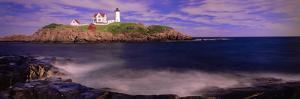 Lighthouse at a Coast, Nubble Lighthouse, Cape Neddick, York, York County, Maine, USA